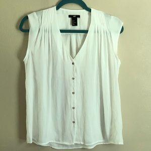 H&M Gauze Sheer Short Sleeve White Blouse